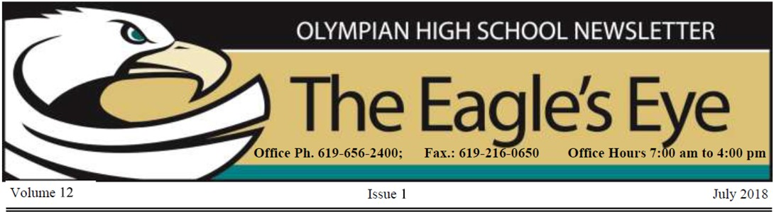 Olympian High School Newsletter The Eagle's Eye